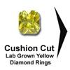 Titanium Rings, cushion cut yellow diamond,