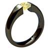 BLACK SATEEN, Titanium yellow diamond cut Ring, yellow diamond band