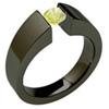 BLACK EXCENTRIS TAPERED, Titanium yellow diamond solitaire Ring