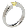 SATEEN, Titanium yellow diamond cut Ring, yellow diamond band