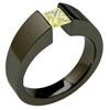 BLACK EXCENTRIS TAPERED, titanium yellow diamond princess cut Ring, synthetic lab grown diamond