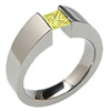 TiEXCENTRIS TAPERED, titanium yellow diamond princess cut Ring, synthetic lab grown diamond