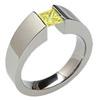 TiEXCENTRIS TAPERED, titanium yellow diamond princess cut Ring, synthetic lab grown diamond