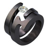 Black Titanium Ring Set - Spira Duo
