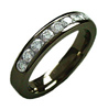 Black Titanium Ring - HALF ETERNITY DIAMOND BAND-BLACK - AbsoluteTitanium.com