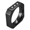 Black Titanium Ring - THREE DIAMOND BLACK OCTO RING - AbsoluteTitanium.com