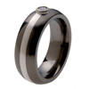 Black Titanium Ring - Diamond and Platinum Inlay and Bezel