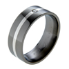 Black Titanium Ring - Flat diamond band with inlay