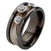 Black Titanium Ring - Gala with Diamonds