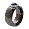 Black Zirconium Ring - Moonstone with Platinum Bezel