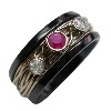 Black Titanium Ring - Gala set with Ruby and diamonds
