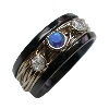 Black Titanium Ring - Gala set with sapphire and diamonds