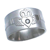 Titanium Ring - Claddagh with Set Heart