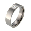 Titanium Ring - Flat Diamond Band