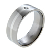 Titanium Ring - Flat diamond band with inlay