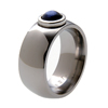 Titanium Ring - Moonstone with Platinum Bezel