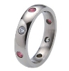 Titanium Ring - Oriel with Diamonds and Rubies