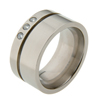 Titanium Ring - Sable with Diamonds