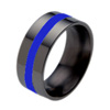 FLAT GLAZED INLAY BLACK - Black Titanium Ring