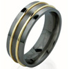 Black Zirconium Ring - Duet Flat Raised Inlay