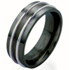 Titanium Ring - Duet White Gold Inlay