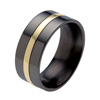 Black Zirconium Ring - Flat Raised Inlay