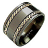 Black Zirconium Ring - Titanium Ring Flat Patterned Duet