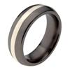Black Titanium Ring - Half Round white gold inlay