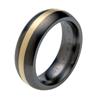 Black Titanium Ring - Half Round gold inlay