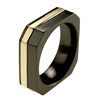 Black Titanium Ring - Octo with raised inlay