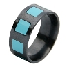 Black Titanium Ring - Stone Raised Inlay Squares