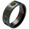 Black Titanium Ring - Bloodstone Inlaid Circles