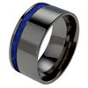 Black Zirconium Ring - Offset Lapiz Lazuli Inlay