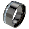 Black Titanium Ring - Offset Mother of Pearl Inlay