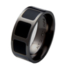 Black Titanium Ring - Onyx Inlaid Squares