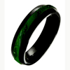 Black Zirconium Ring - Jade Inlay