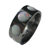 Black Titanium Ring - Stone Inlay Magnum Circles