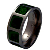 Black Zirconium Ring - Jade Inlaid Squares