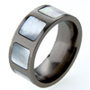 Black Titanium Ring - Mother of Pearl Inlaid Squares