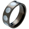 Black Titanium Ring - Mother of Pearl Inlaid Circles
