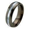 Black Titanium Ring - Mother of Pearl Inlay