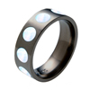 Black Titanium Ring - Opal Inlaid Circles