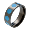 Black Titanium Ring - Turquoise Inlaid Circles