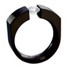 Black Titanium Ring - Demi-Lune
