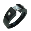 Black Titanium Ring - Excentris Shoulder Stone with Bezel