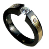 Black Titanium Ring - Excentris with Gold Inlay and Shoulder Stone