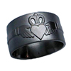 Black Zirconium Ring - Claddagh Relief