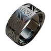 Black Titanium Ring - Wave
