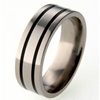 Titanium Ring - Glazed Flat Duet Inlay