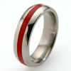 Titanium Ring - Half Round Glazed Inlay